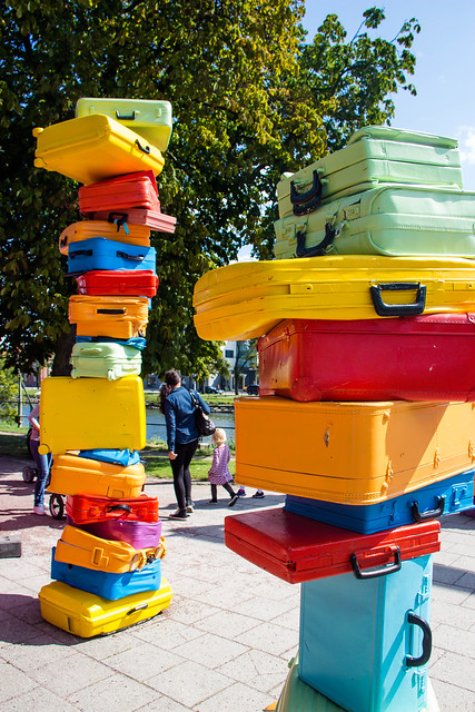 stacked colorful luggage
